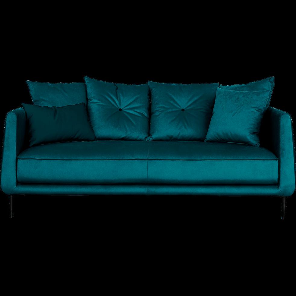 Canapé 3 places fixe en tissu bleu niolon - ASTELLO - canapés droits ...
