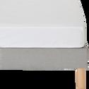 Drap housse en percale de coton blanc 160x200cm bonnet 25cm-FLORE