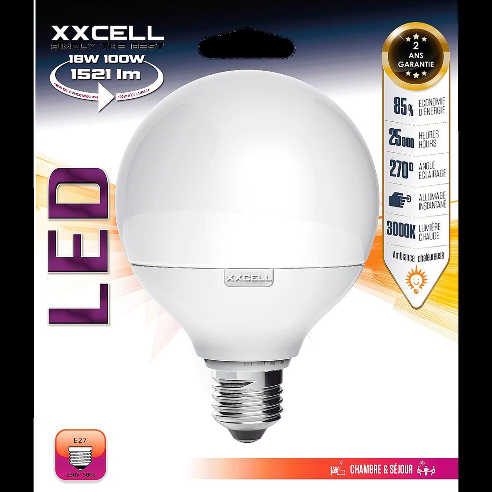 Ampoule LED D12cm blanc chaud culot E27-GLOBE