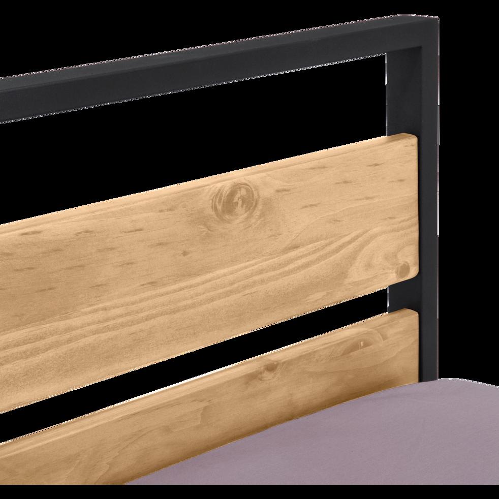 lit 2 place bois et m tal avec t te et pieds de lit. Black Bedroom Furniture Sets. Home Design Ideas
