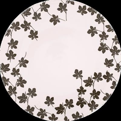 Assiette plate en porcelaine à motifs feuilles de figuier D27cm-FIGUIER