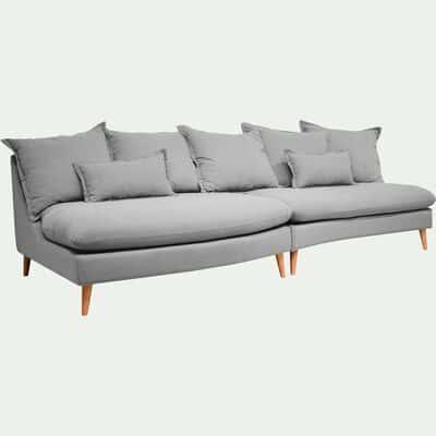 Canapé 5 places convertible en tissu gris borie-LAMO