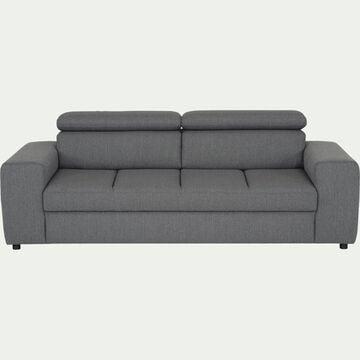 Canapé 3 places fixe en tissu - gris anthracite-TONIN