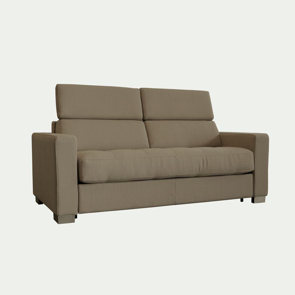 Canapé 2 places fixe en tissu avec accoudoir 15cm - taupe-MAURO