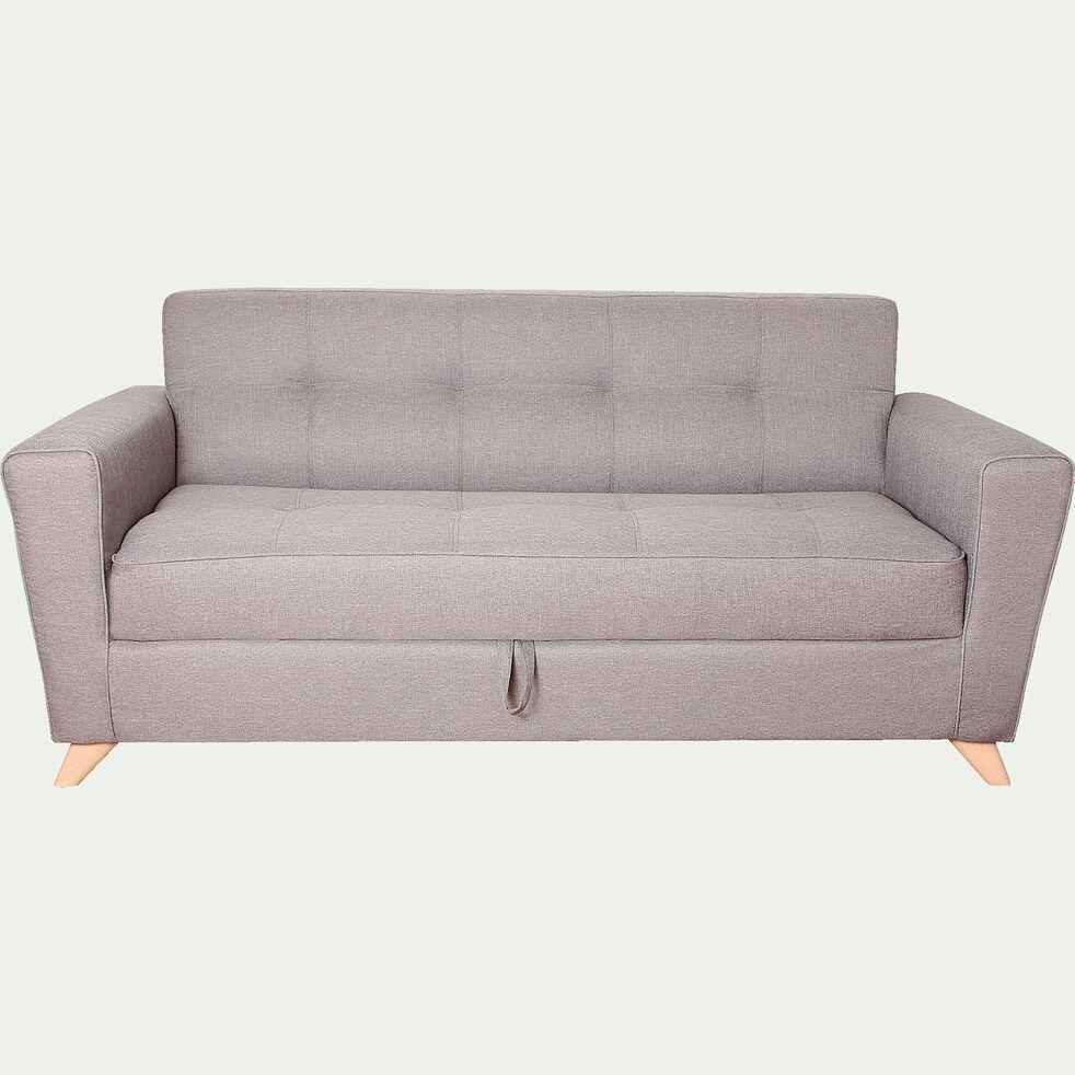 Canapé 3 places convertible en tissu - gris clair-VICKY