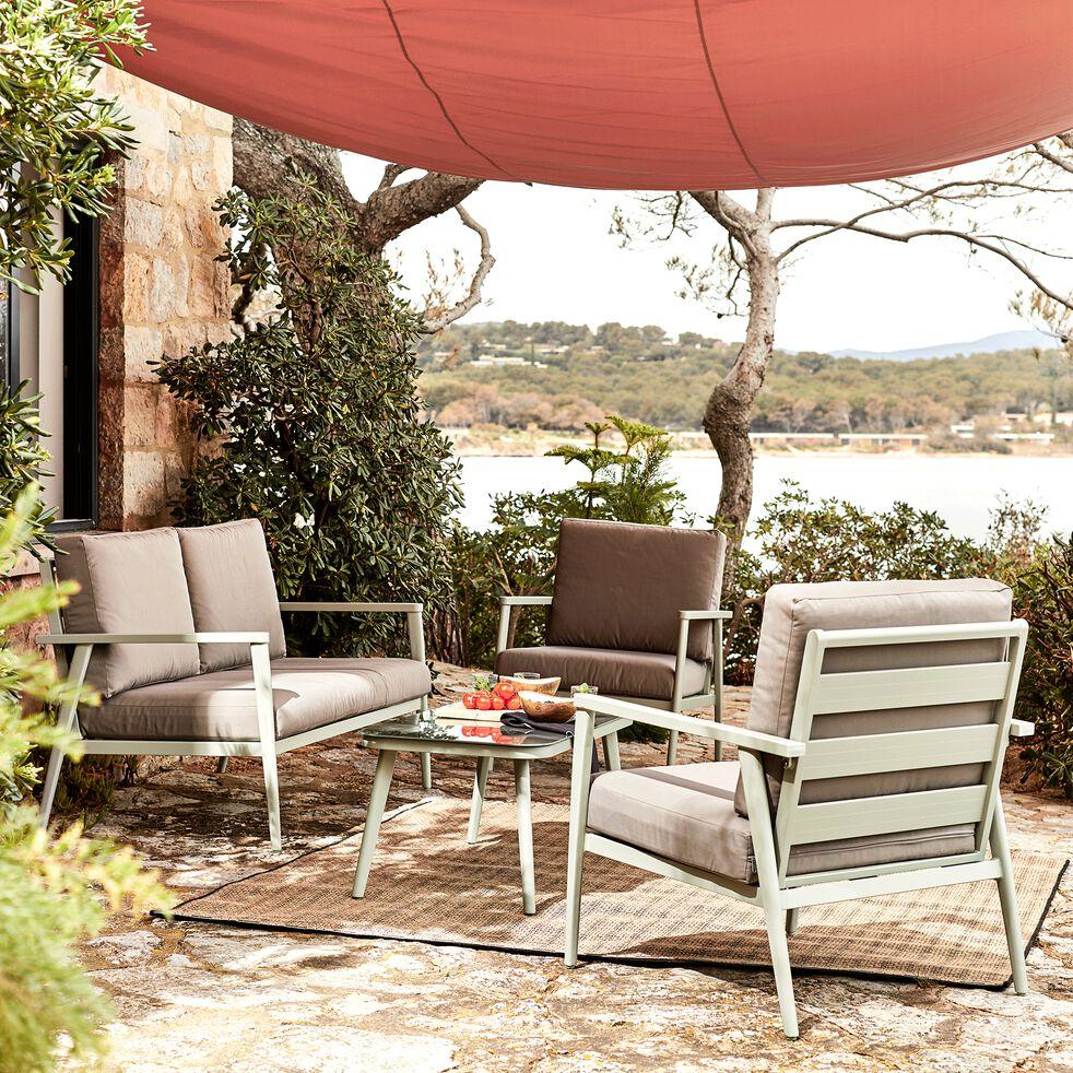 Salon de jardin en aluminium vert (3 places)