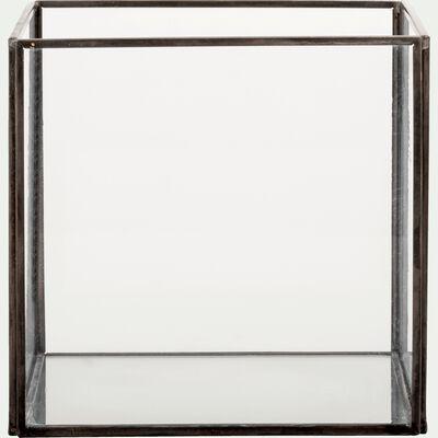 Boîte décorative en verre noir 15x15x14cm-ASTER