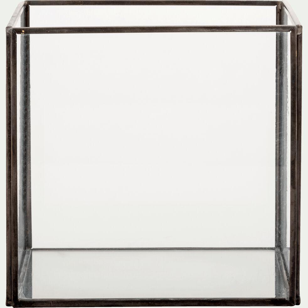 Boîte décorative en verre et fer - transparent L15xl15xH14cm-ASTER
