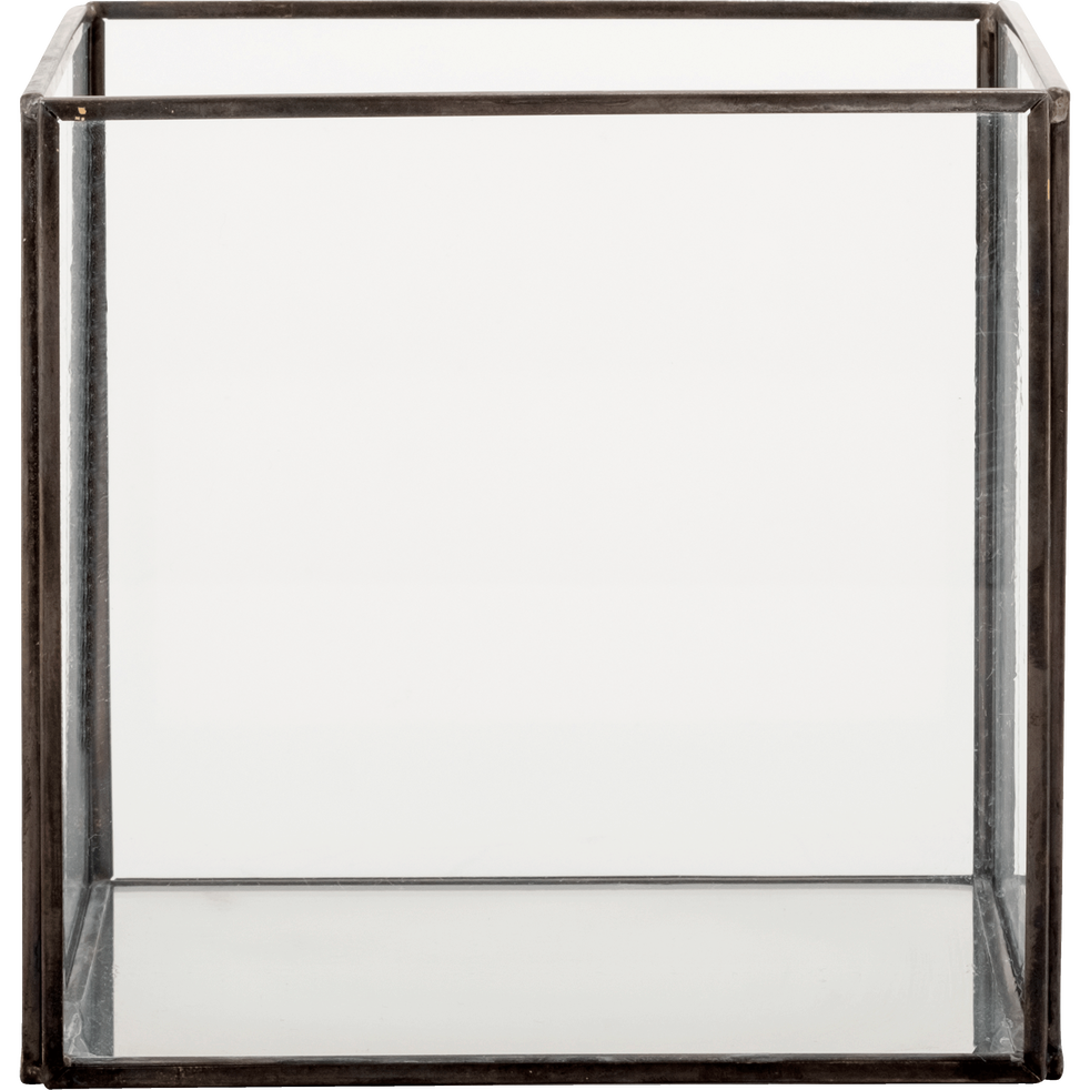 Boîte de rangement en verre noir 15x15x14cm-ASTER