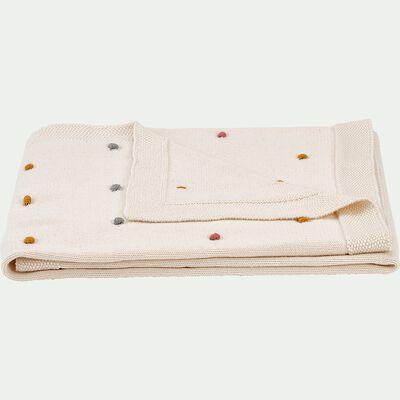 Plaid en coton bio avec pompons L80xl100cm - blanc écru-Buly