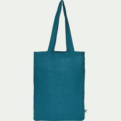 Housse de couette unie en lin bleu figuerolles-VENCE