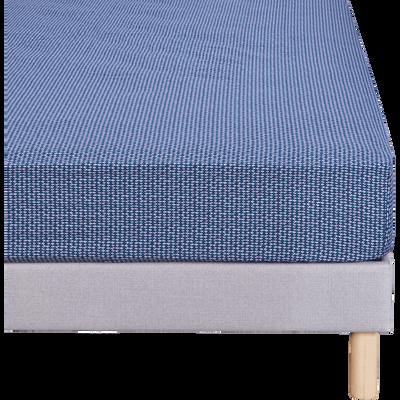 Drap housse 140x200cm bleu figuerolles-SEME