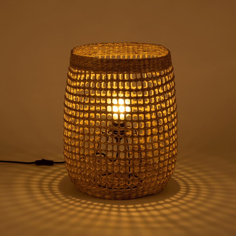 Lampe à poser en zostère H45xD34cm-HUDSON