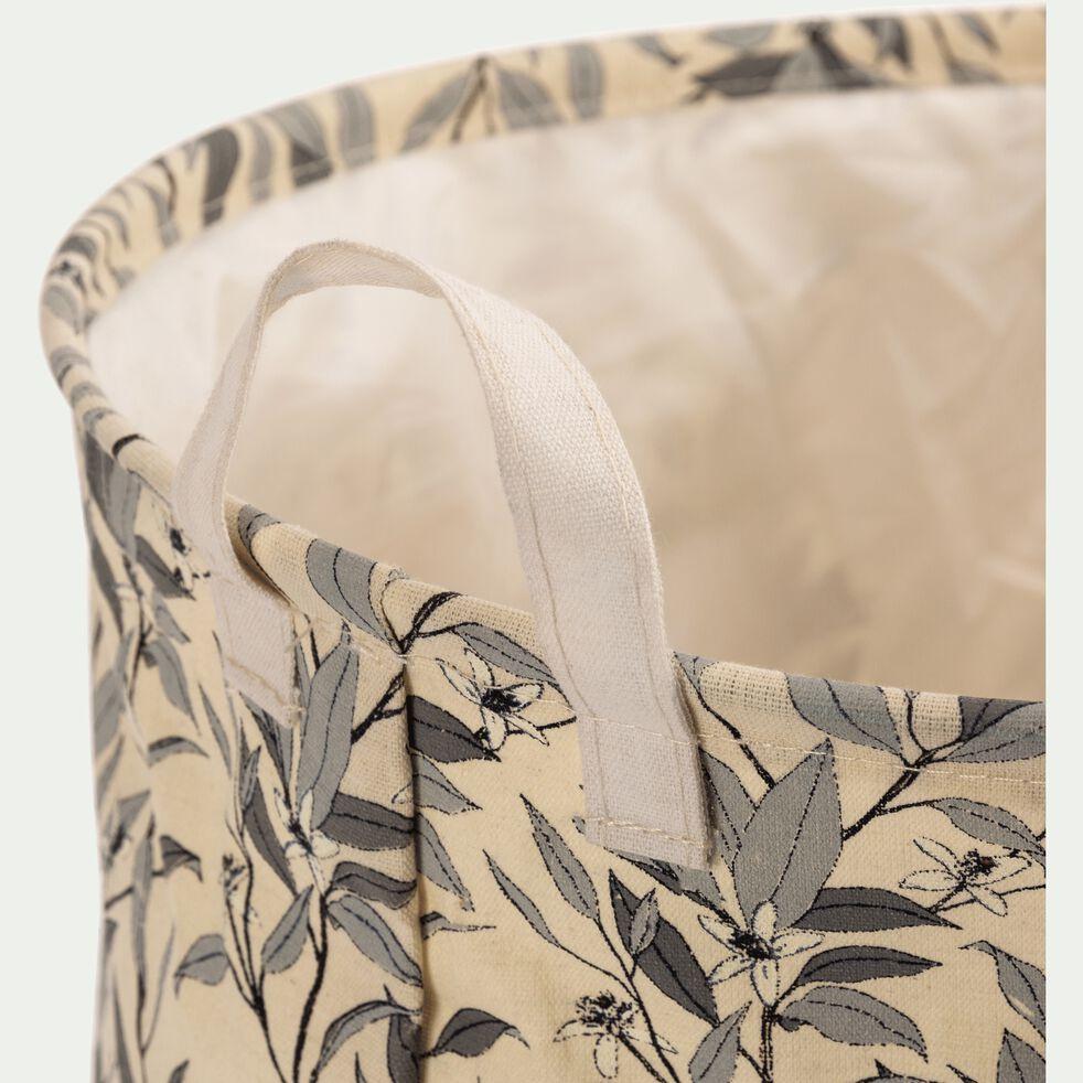 Panier à linge à motif fleur d'oranger en polycoton - beige H40xD50cm-ALEXIA