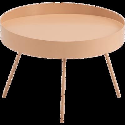 Table basse ronde en acier rose argile-SALINE