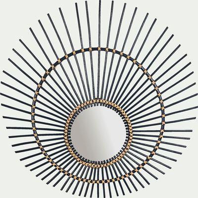 Miroir oval en rotin - bleu d80cm-Olito