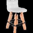 Chaise de bar pivotante en simili blanc - H66cm-AGATHE
