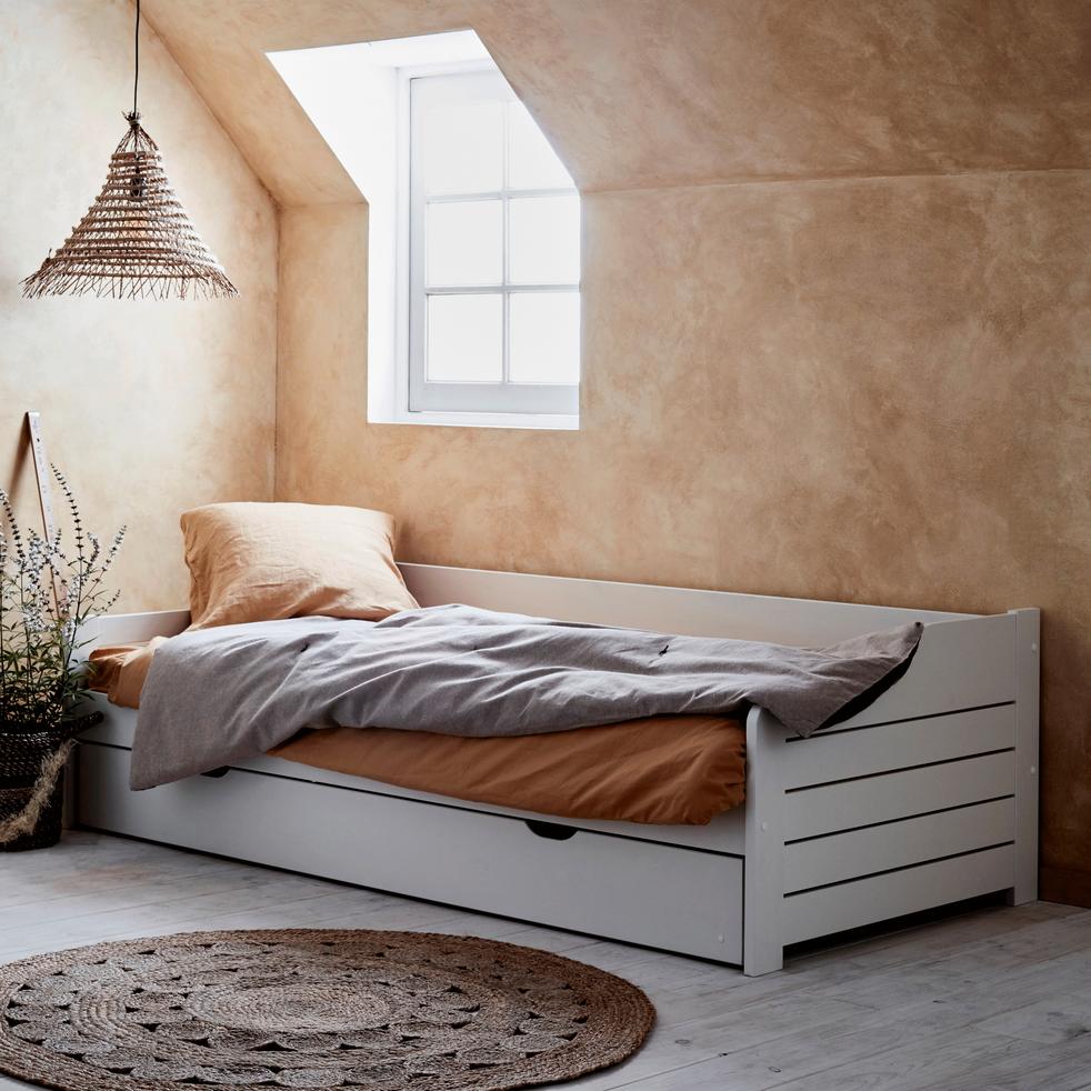 lit banquette gigogne en pin massif blanc 90x200 cm cosa 90 200 cm lits enfants 1 place. Black Bedroom Furniture Sets. Home Design Ideas