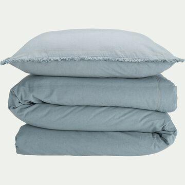Housse de couette et deux taies d'oreiller délavés - bleu 240x220cm-NAYA
