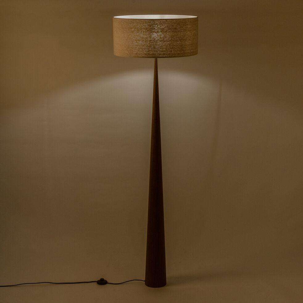 Lampadaire en bois foncé - beige D50cm-KONE