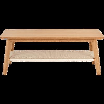 Table basse rectangulaire plaquée chêne et corde tressée blanche-CORDA