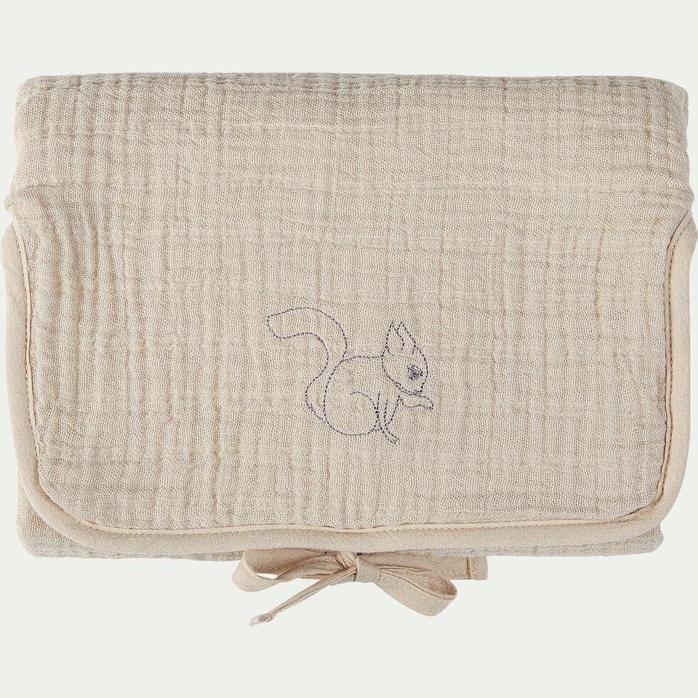 Matelas à langer bébé en coton bio avec broderie - beige alpilles-Nuage