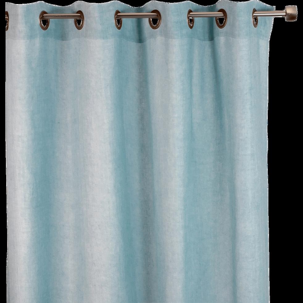 Rideau A Oeillets En Lin Lave Bleu Clair 140x250cm Vence Rideaux