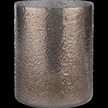 Photophore en verre gris D12xH14cm-PICHOTO