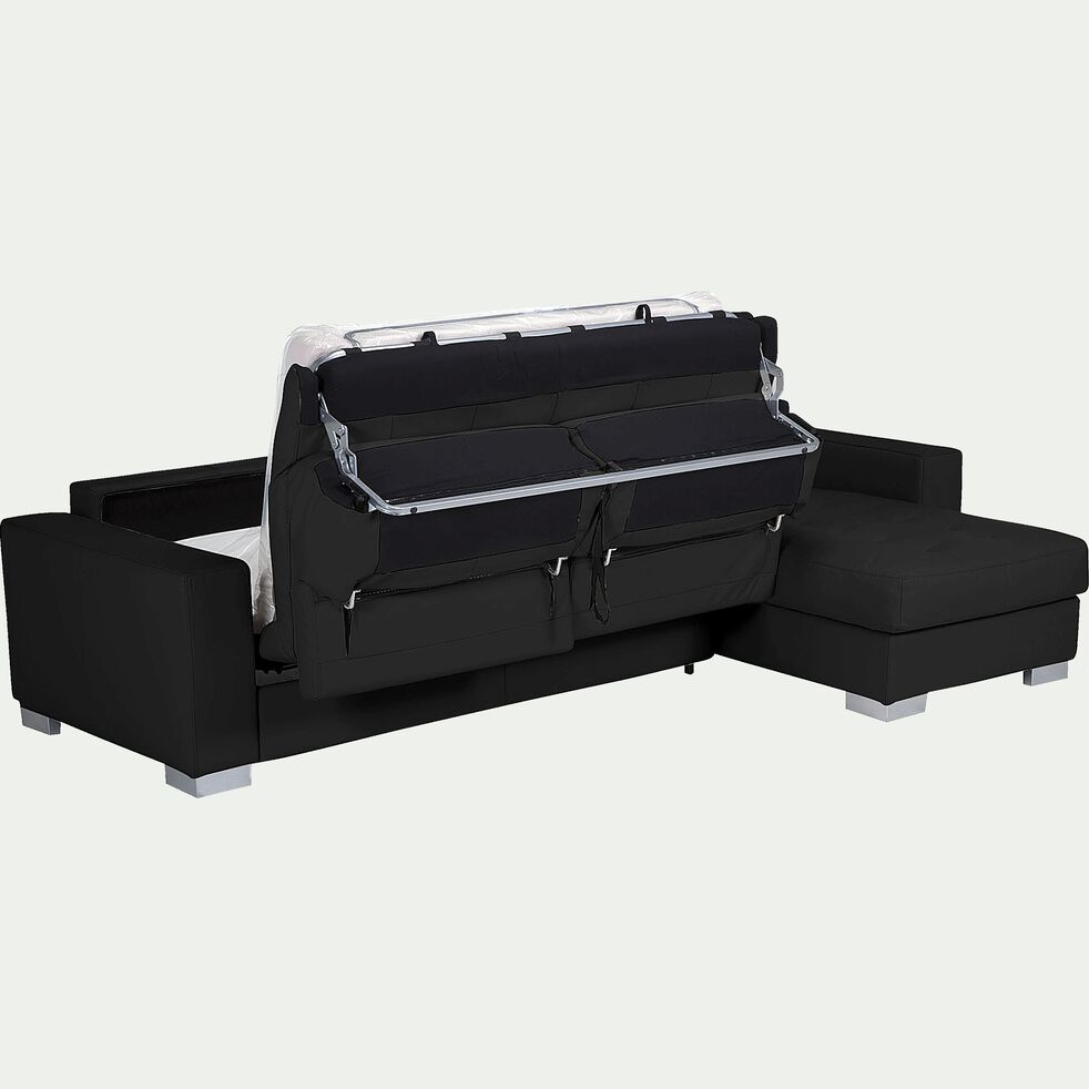Canapé d'angle réversible convertible en cuir de buffle - noir-Mauro