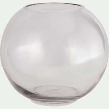 Vase boule en verre épais - transparent D30cm-CERS