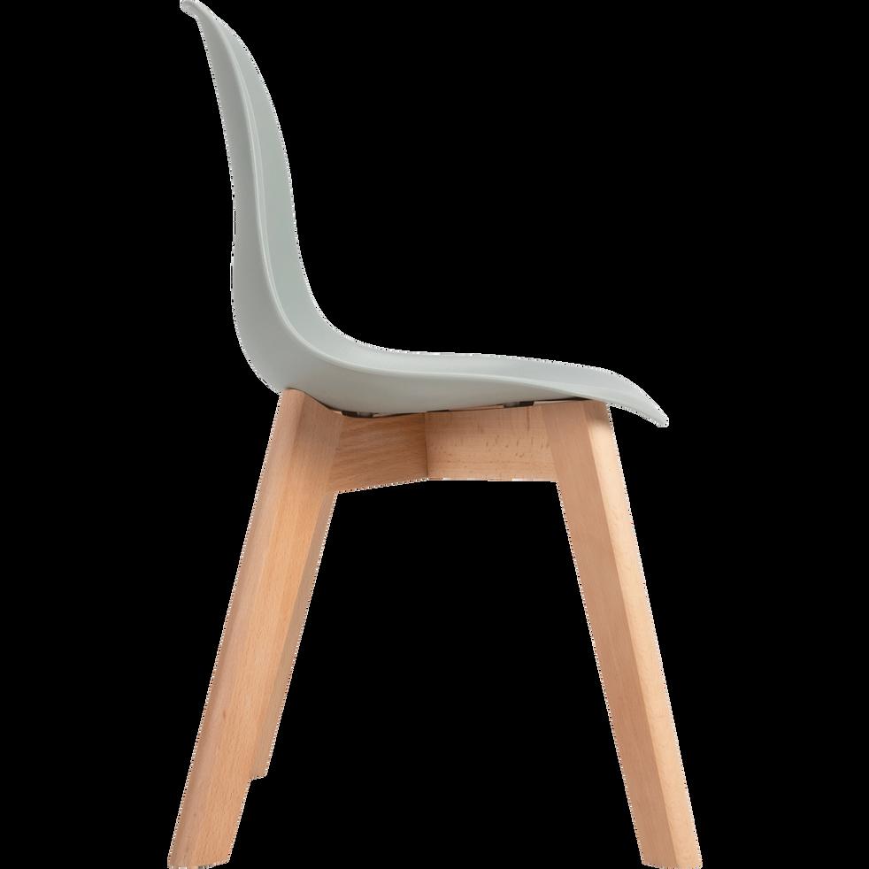 Chaise enfant assise plastique & pieds en hêtre - Vert olivier-NORA