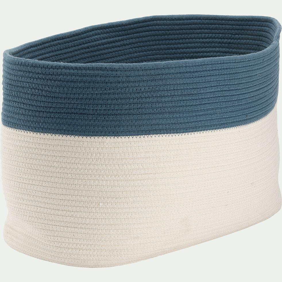 Panier de rangement bicolore - bleu L55xl30xH35cm-Louni