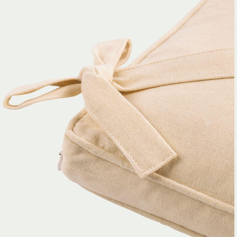 Galette de chaise à nouettes en coton - beige roucas 38x38cm-BORMES