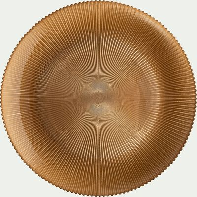 Assiette de présentation en verre strié doré D35cm-SPLENDIDE