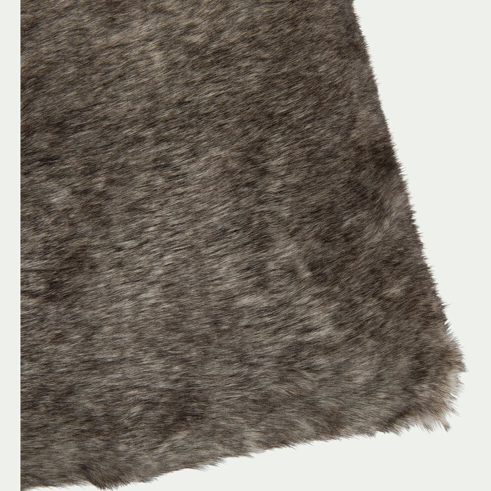 Coussin imitation fourrure en polyester - marron 30x50cm-GUSTAVE