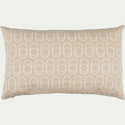 Coussin en coton imprimé beige et blanc 30x50cm-DÔME