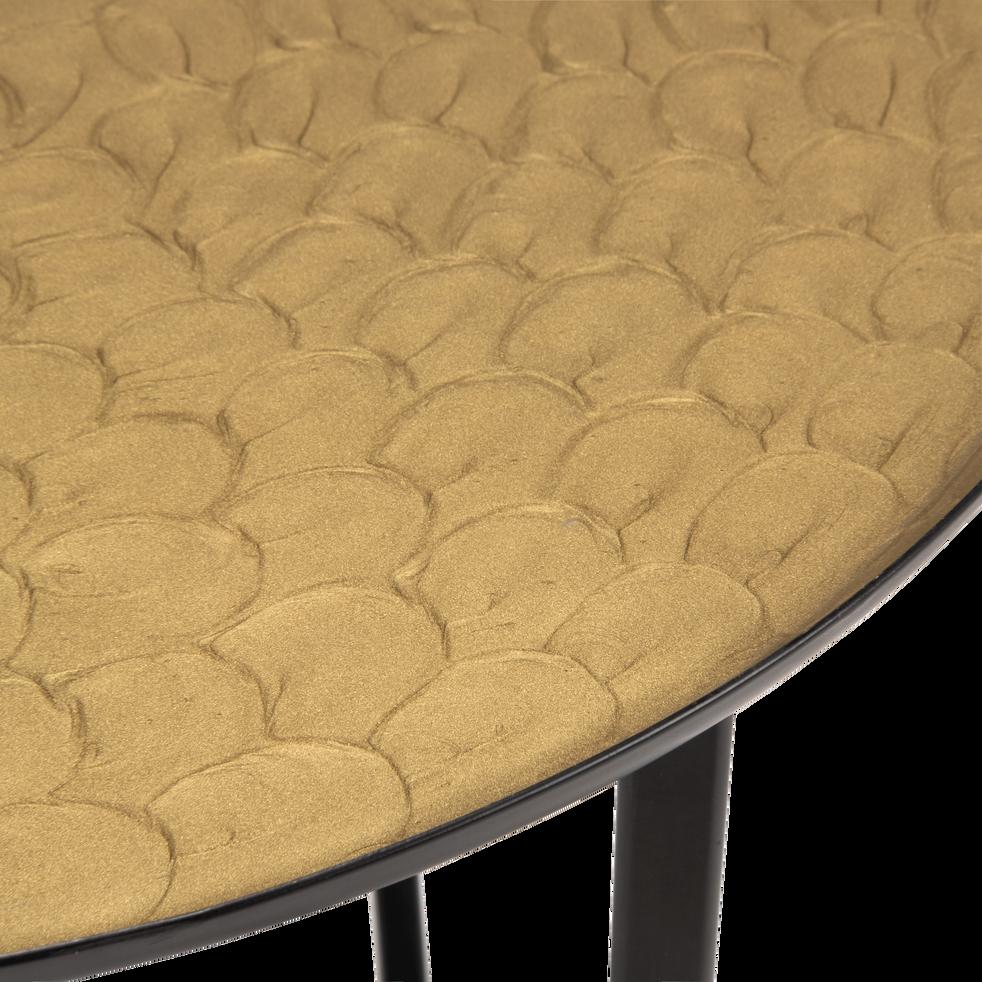 Ensemble de 2 bouts de canapé en acier doré et bleu-KOUNIA