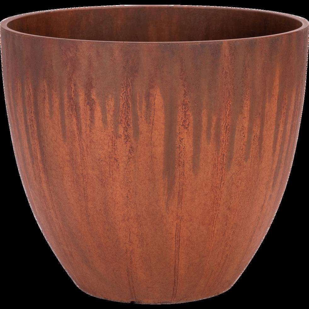 Cache-pot en plastique rouille D31cm-Bocca