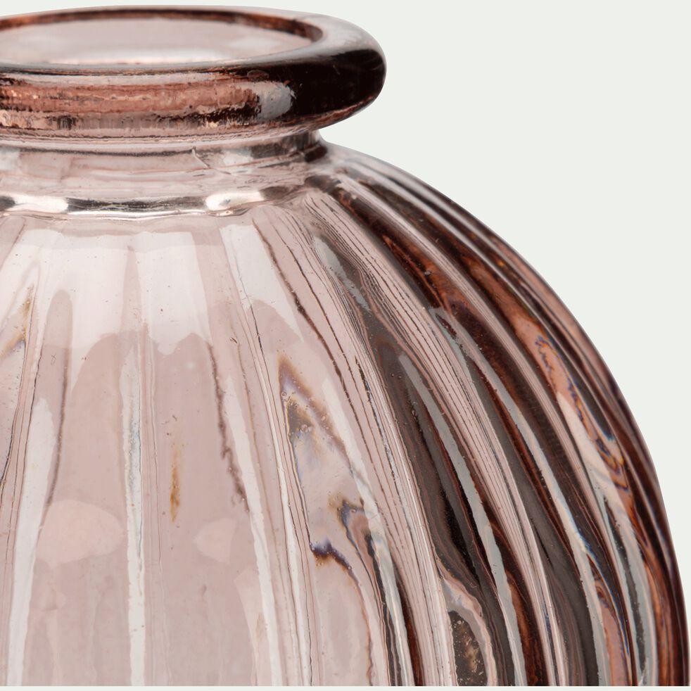 Vase rond strié en verre - rose H8cm-Doko