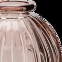 Vase rond strié en verre rose H8 cm-Doko