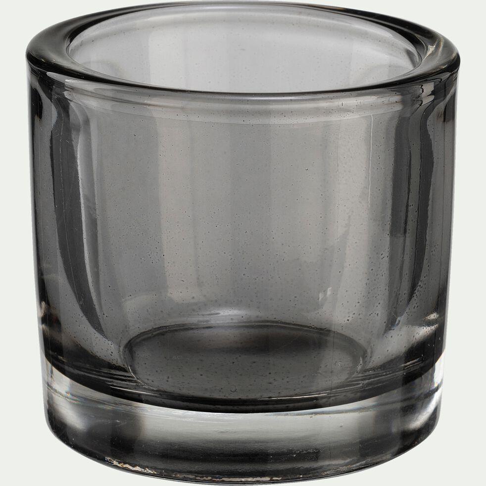 Photophore en verre gris H13cm-Triope