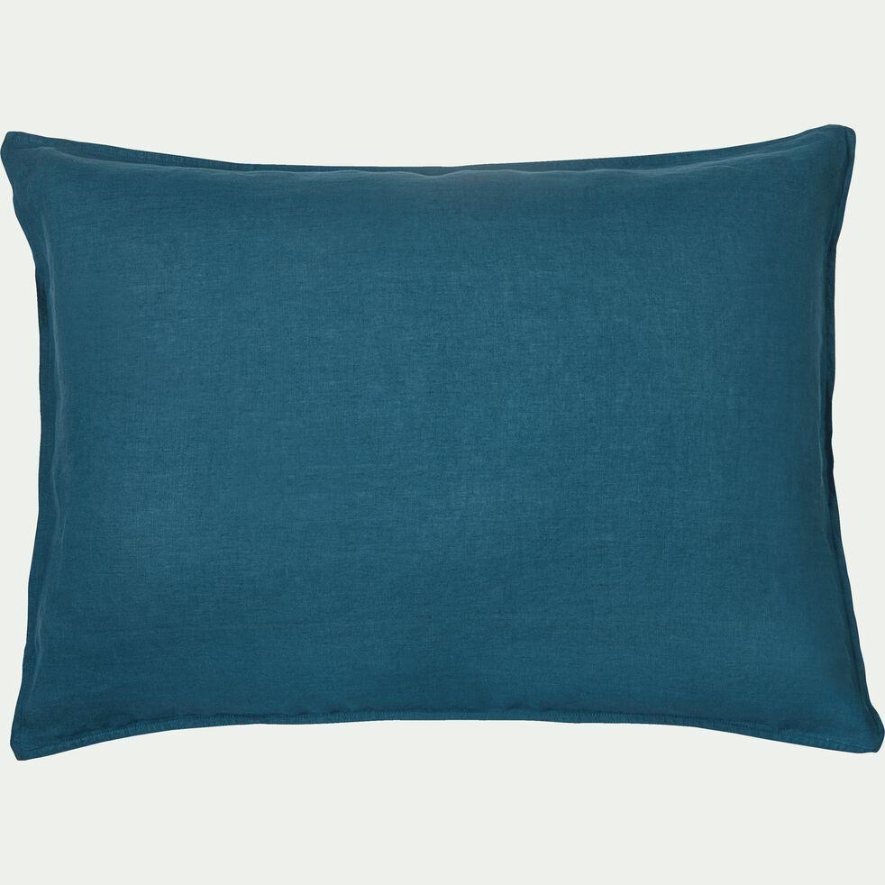 Lot de 2 taies d'oreiller en lin - bleu figuerolles 50x70cm-VENCE