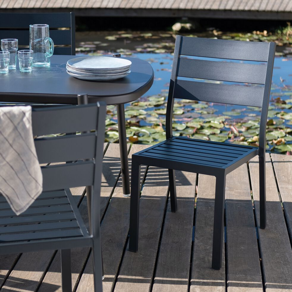 Chaise de jardin empilable en aluminium - noir-MARIA