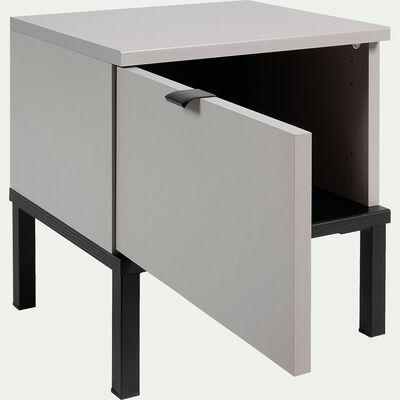 Table de chevet avec 1 porte en bois plaqué - gris-CASTEL