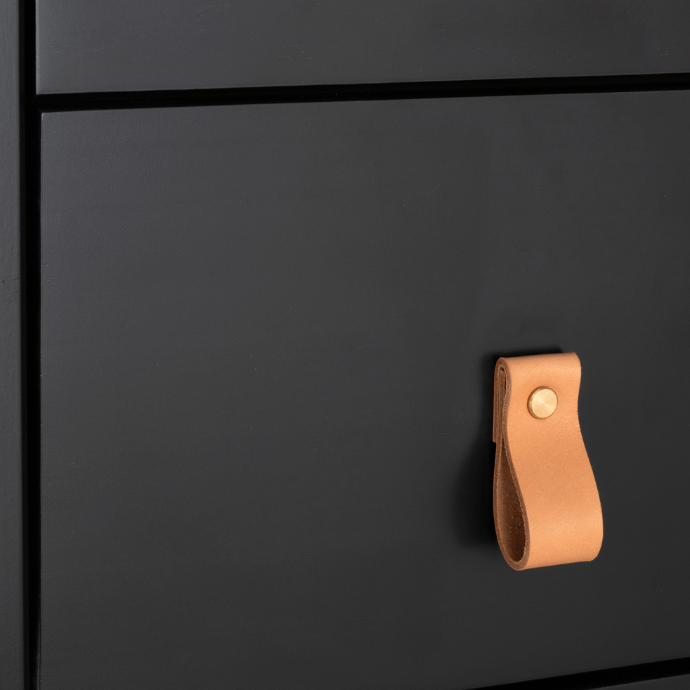 Commode 4 tiroirs avec structure et façade en pin massif  noire-LISON