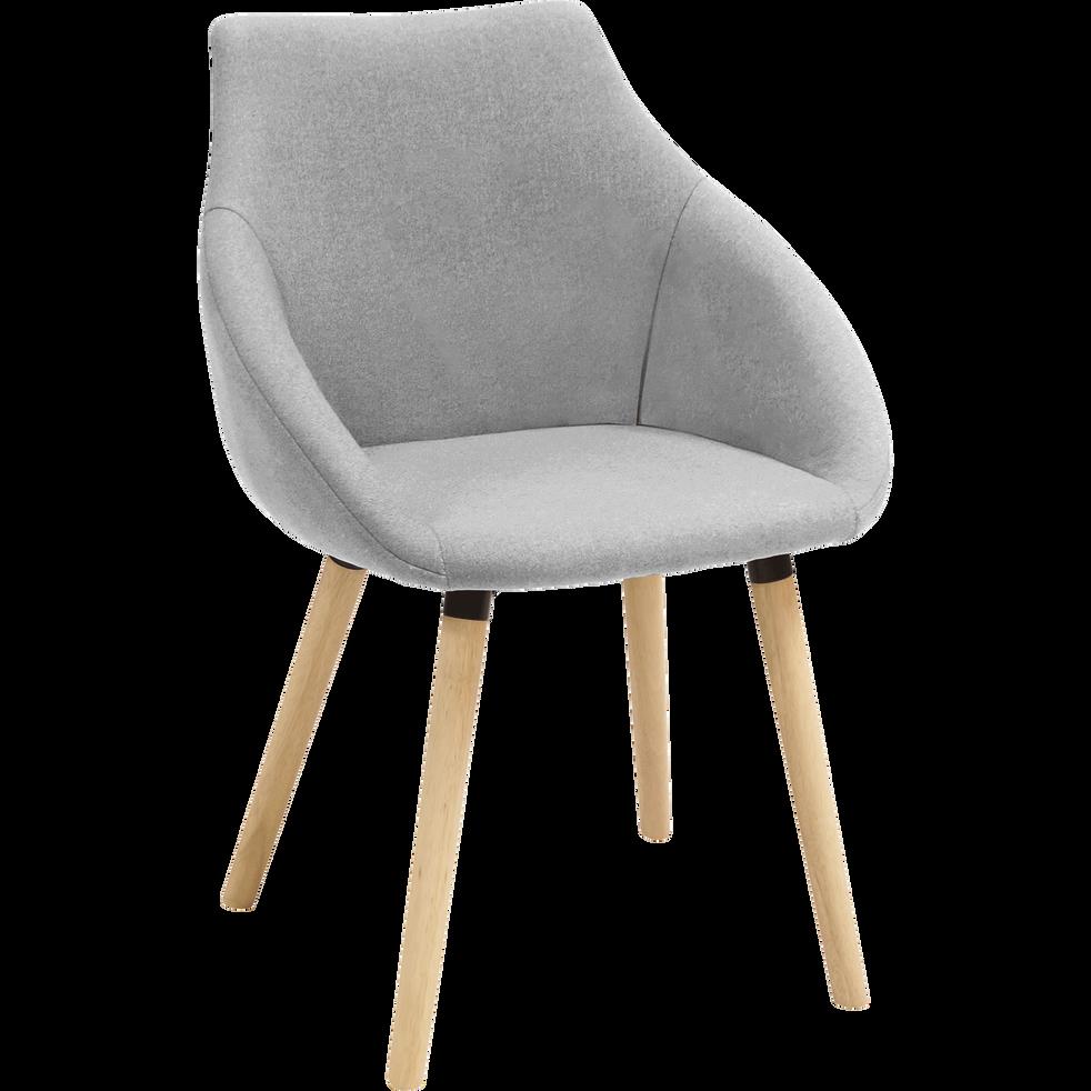 Chaise en tissu gris clair avec accoudoirs-NOELIE
