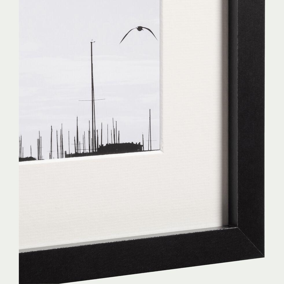 Image encadrée noir et blanc 24x30cm-MOUETTE