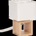 Lampe à poser carrée en bois en coton blanc H25cm-Cubo