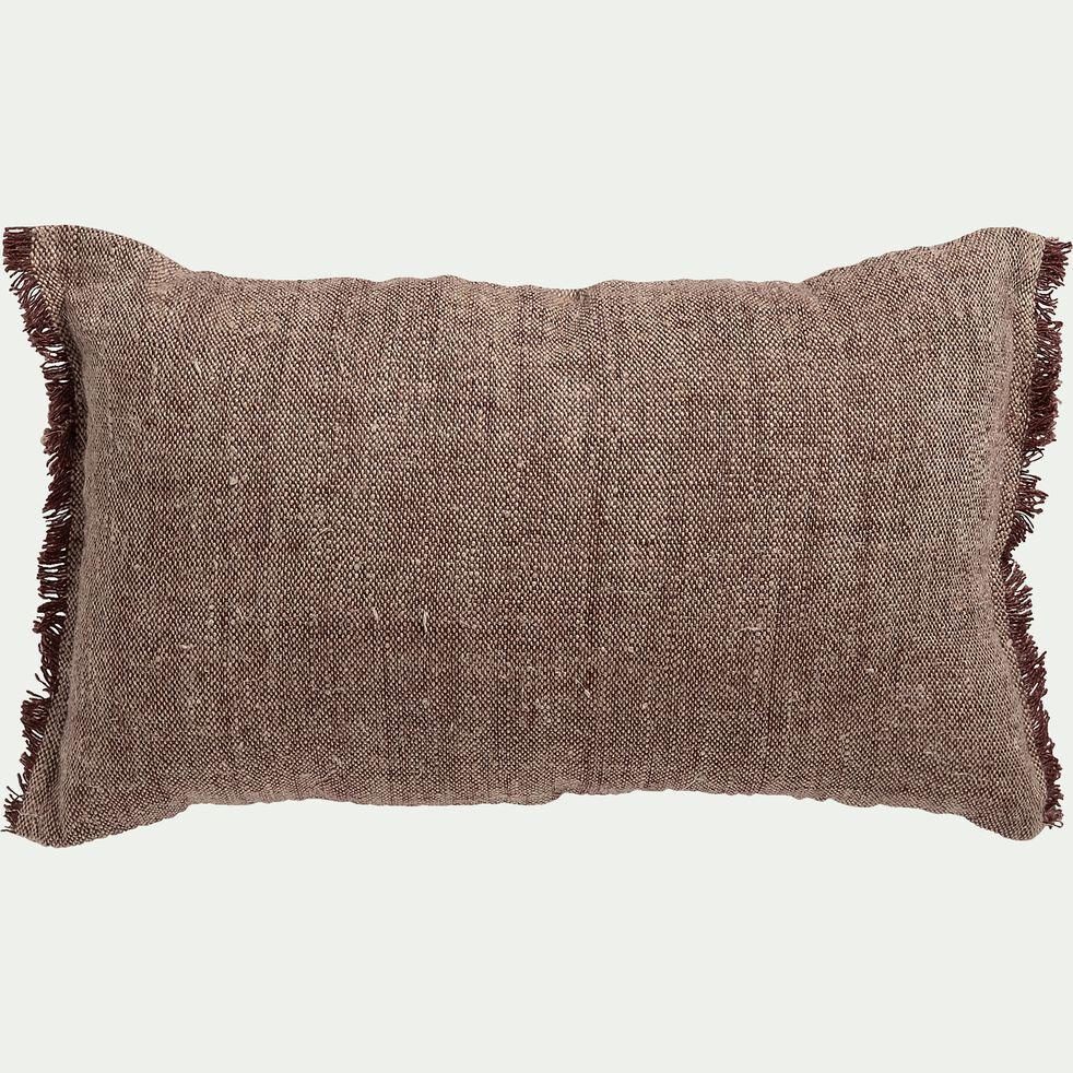 Coussin frangé en lin chambray - marron terre d'ombre 30x50cm-ORLU