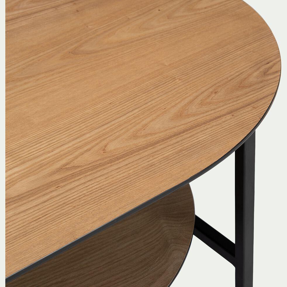 Table basse ovale plaquée frêne et métal noir-OUNOUR
